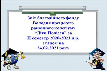 """Звіт благодійного фонду""""Діти Полісся"""" за ІІ семестр 2020-2021 н.р."""